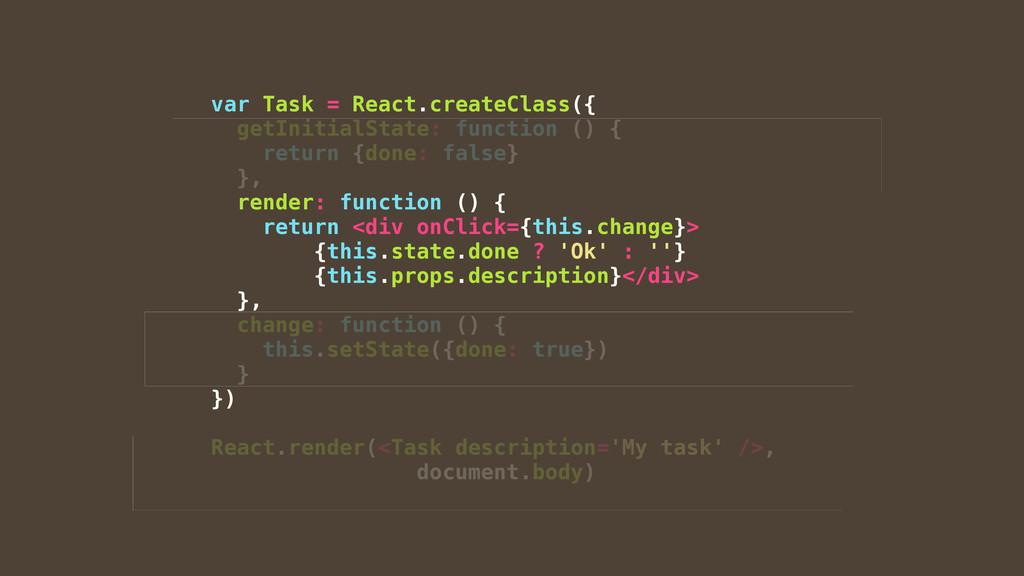 var Task = React.createClass({ getInitialState:...