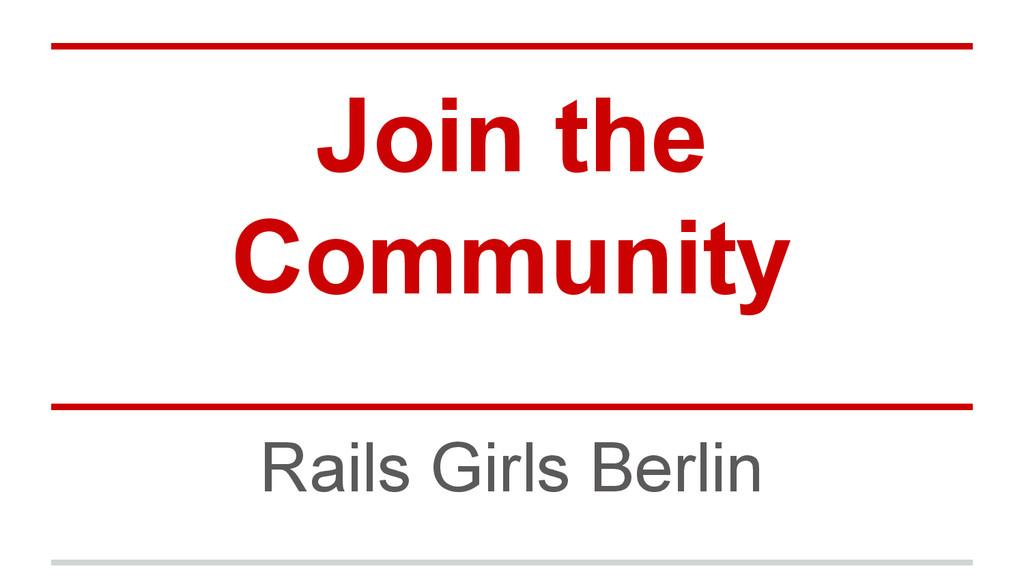 Join the Community Rails Girls Berlin
