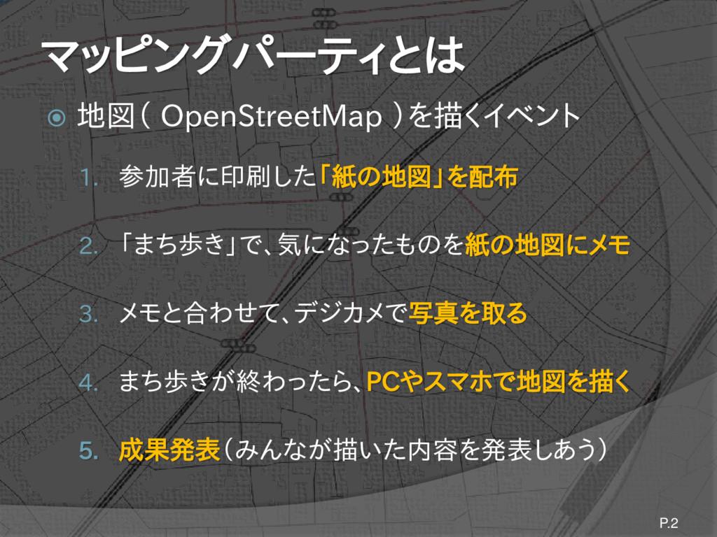 マッピングパーティとは  地図( OpenStreetMap )を描くイベント 1. 参加者...