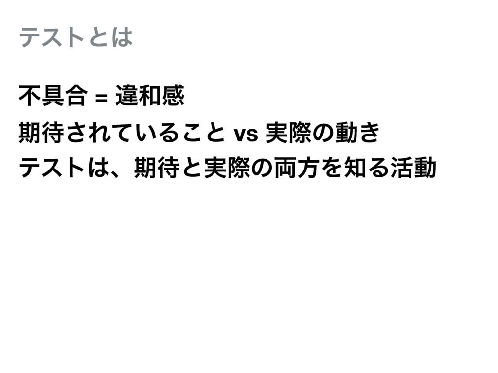 ςετͱ ෆ۩߹ = ҧײ ظ͞Ε͍ͯΔ͜ͱ vs ࣮ࡍͷಈ͖ ςετɺظͱ࣮ࡍͷ྆...