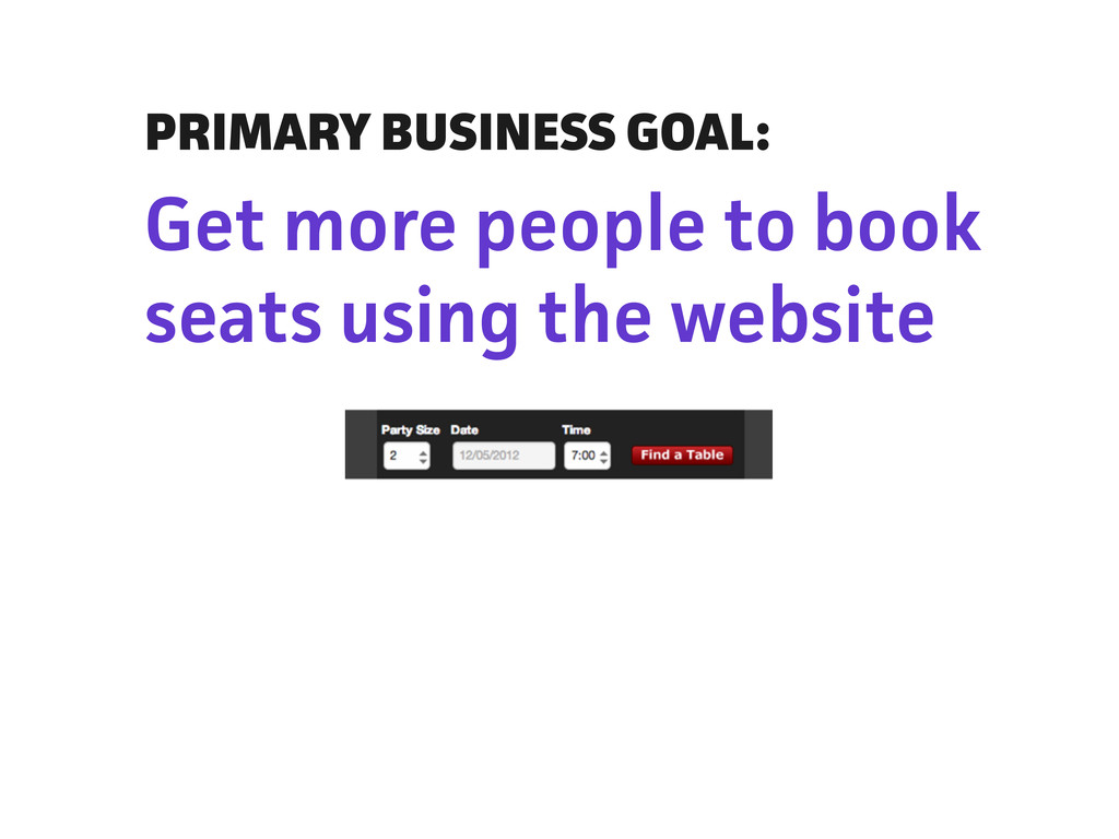 PRIMARY BUSINESS GOAL: Get more people to book ...