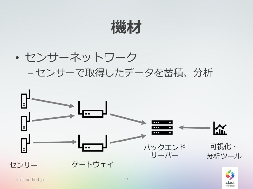 機材 • センサーネットワーク – センサーで取得したデータを蓄積、分析 classmetho...