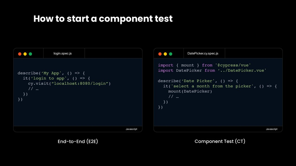 How to start a component test DatePicker.cy.spe...