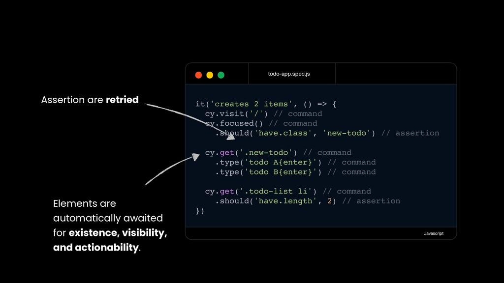 todo-app.spec.js Javascript it('creates 2 items...