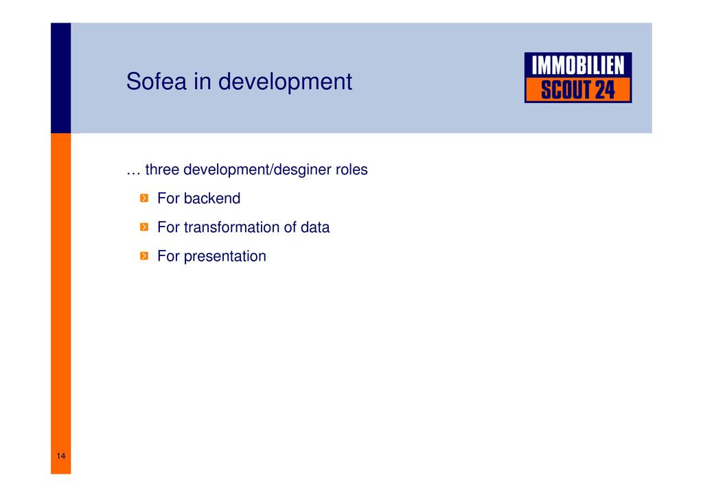 14 Sofea in development … three development/des...
