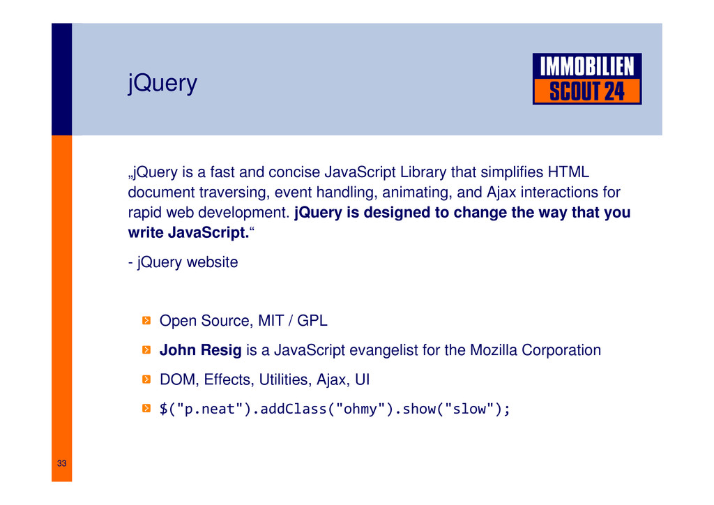 """33 jQuery """"jQuery is a fast and concise JavaScr..."""