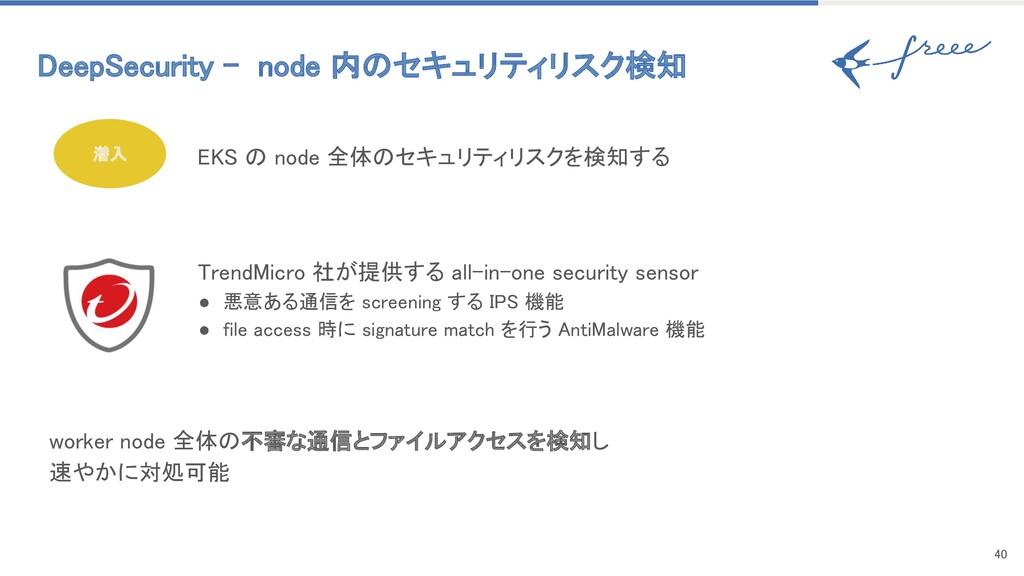 40 潜入 DeepSecurity - node 内のセキュリティリスク検知 EKS ...