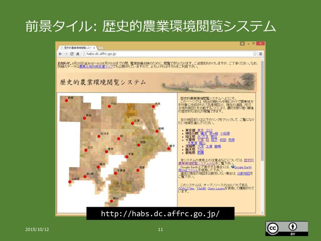 前景タイル: 歴史的農業環境閲覧システム 2015/10/12 11 http://habs....