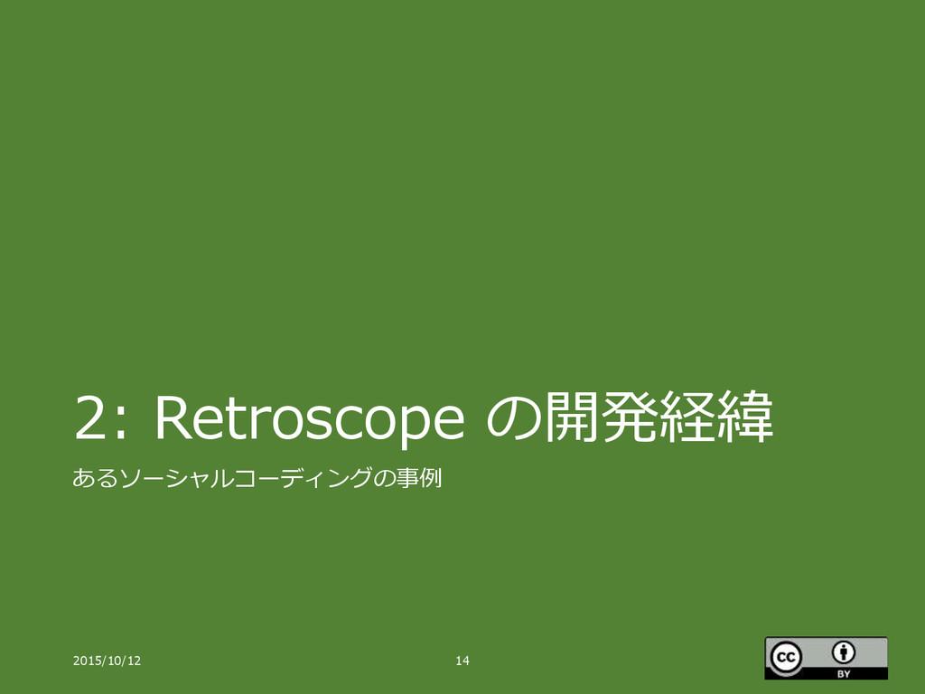 2: Retroscope の開発経緯 あるソーシャルコーディングの事例 2015/10/12...