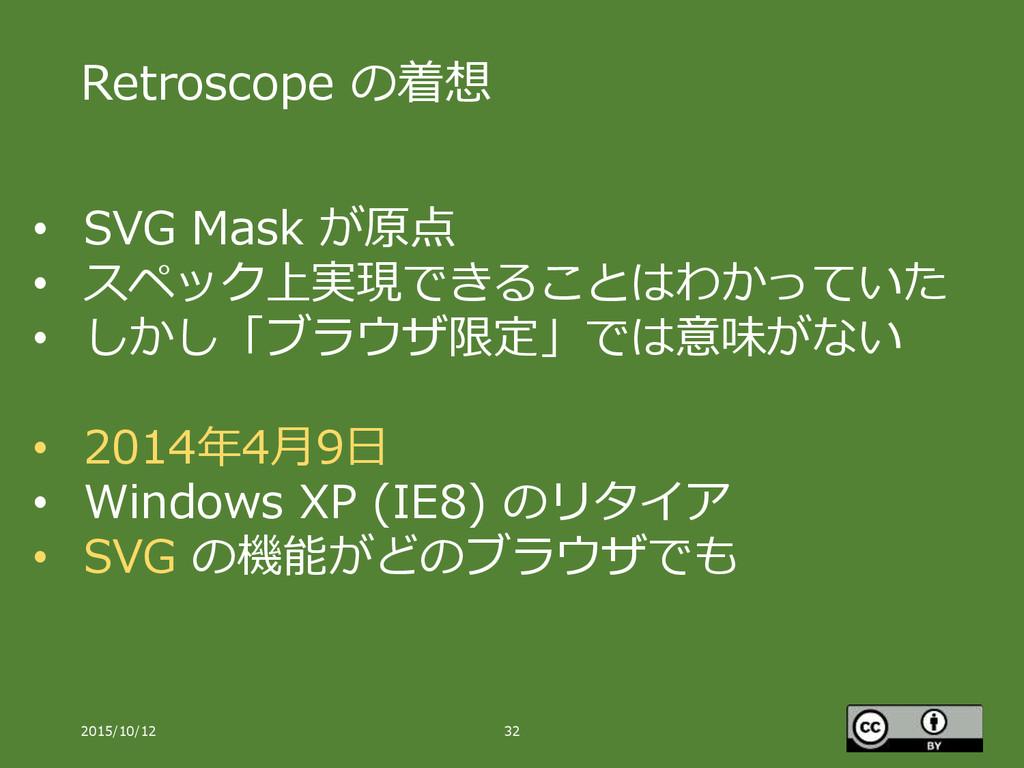 Retroscope の着想 2015/10/12 32 • SVG Mask が原点 • ス...