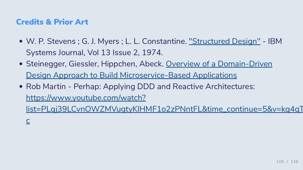 Credits & Prior Art W. P. Stevens ; G. J. Myers...