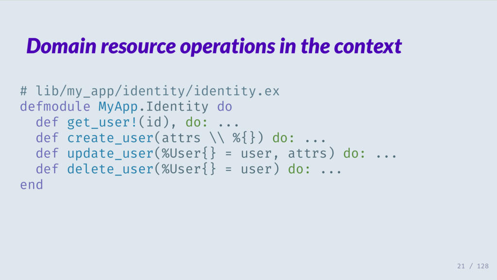 Domain resource operations in the context # lib...