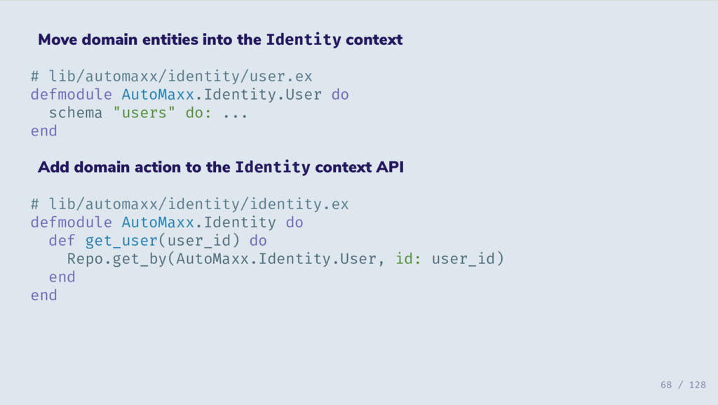 Move domain entities into the Identity context ...