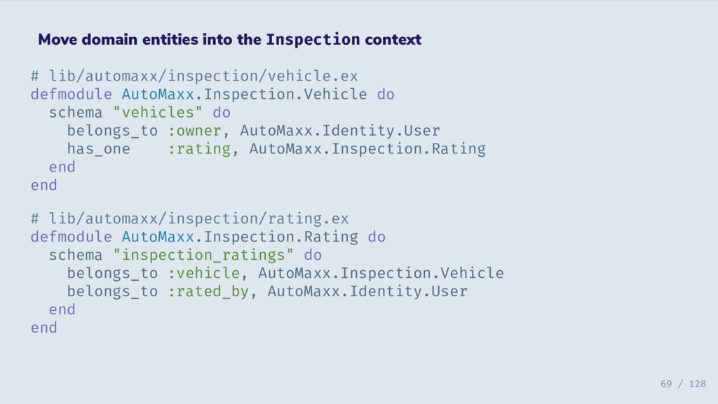 Move domain entities into the Inspection contex...