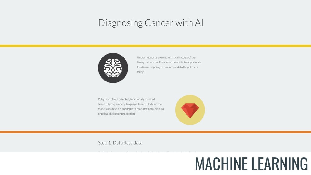 Show diagnosing cancer MACHINE LEARNING
