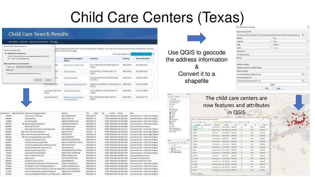 Child Care Centers (Texas) Use QGIS to geocode ...
