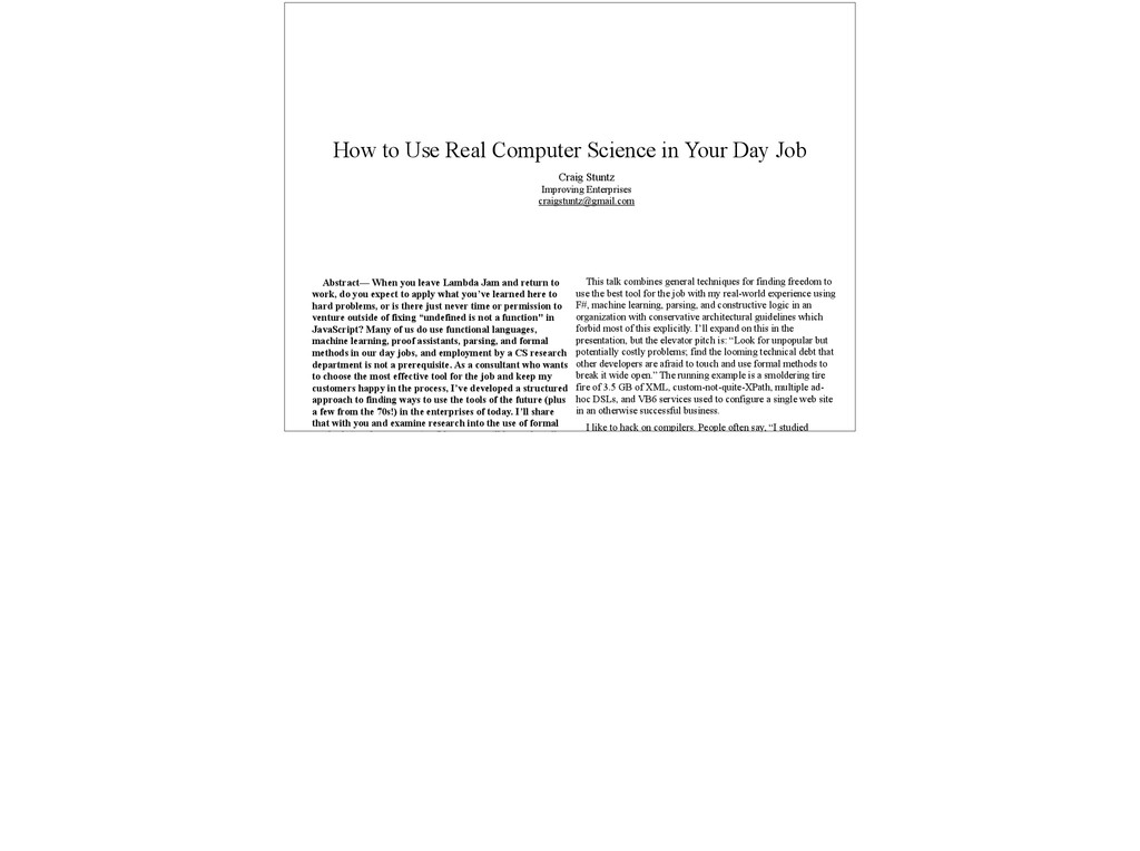 How to Use Real Computer Science in Your Day Jo...
