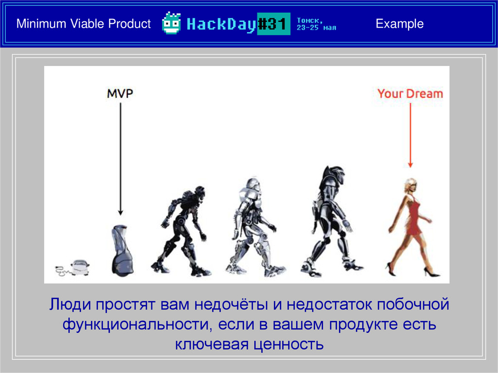 Minimum Viable Product Example Люди простят вам...