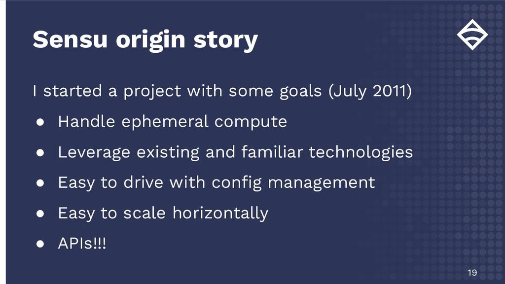 Sensu origin story 19 I started a project with ...