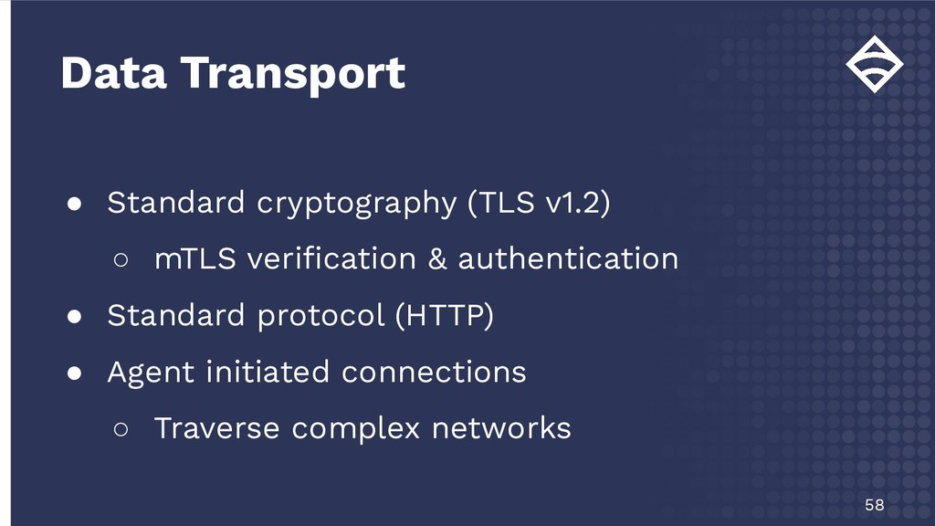● Standard cryptography (TLS v1.2) ○ mTLS verifi...