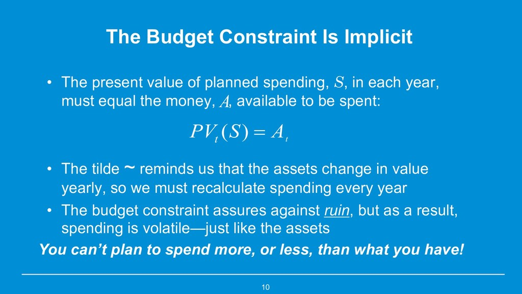 10 The Budget Constraint Is Implicit • The pres...