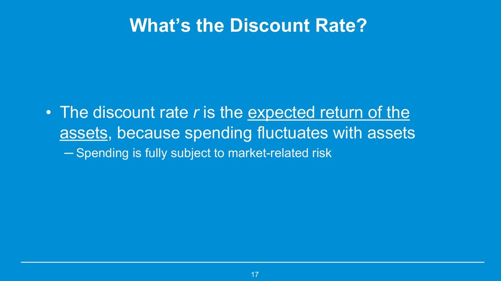 What's the Discount Rate? • The discount rate r...