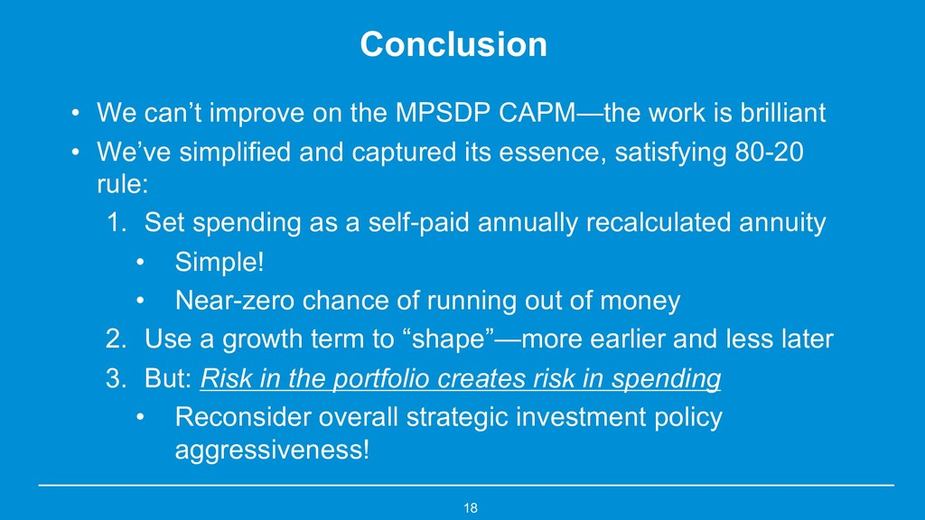 Conclusion • We can't improve on the MPSDP CAPM...