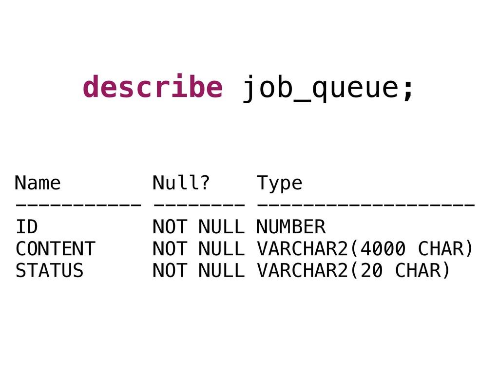 Name Null? Type ----------- -------- ----------...