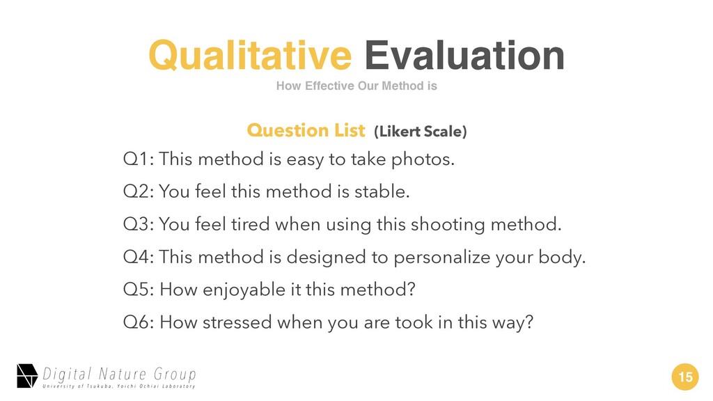 15 Qualitative Evaluation Q1: This method is ea...