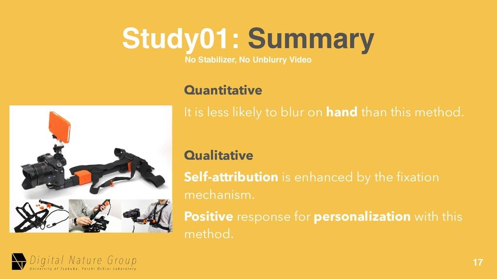 17 Study01: Summary No Stabilizer, No Unblurry ...