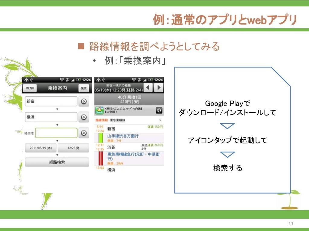 例:通常のアプリとwebアプリ ◼ 路線情報を調べようとしてみる • 例:「乗換案内」 Goo...
