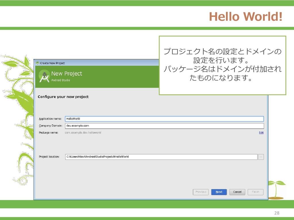 Hello World! プロジェクト名の設定とドメインの 設定を行います。 パッケージ名はド...
