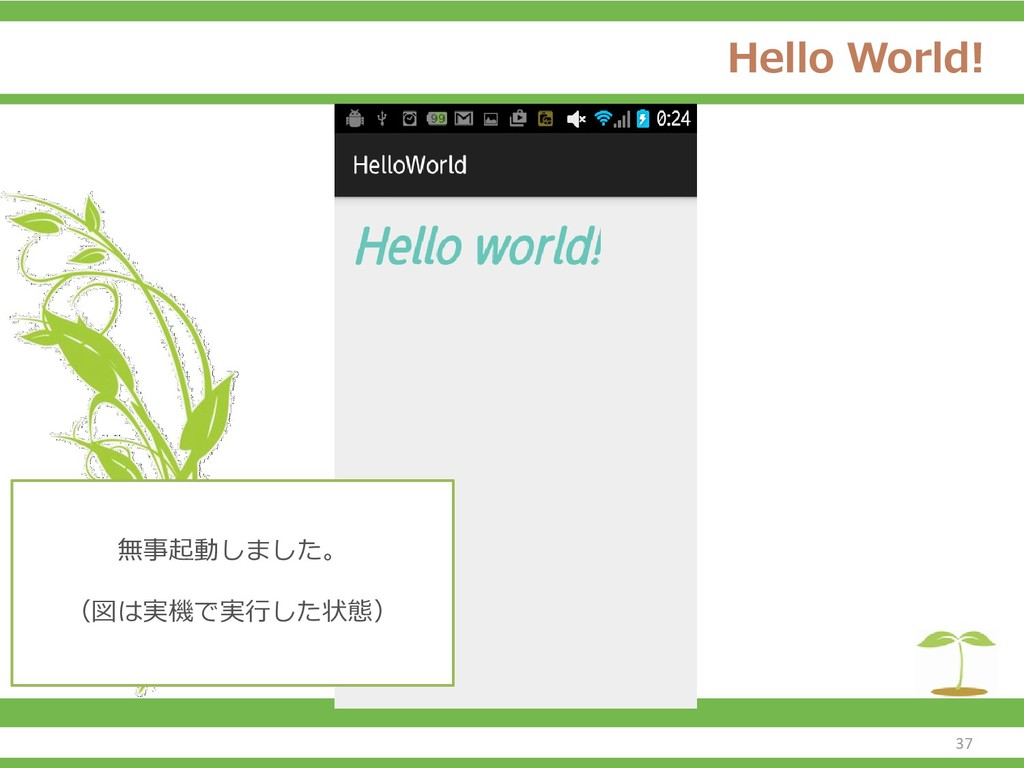 Hello World! 無事起動しました。 (図は実機で実行した状態) 37