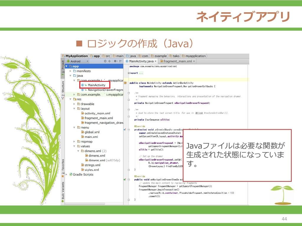 ネイティブアプリ ◼ ロジックの作成(Java) Javaファイルは必要な関数が 生成された状...
