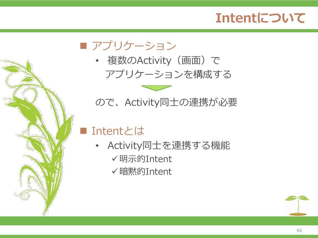 Intentについて ◼ アプリケーション • 複数のActivity(画面)で アプリケーシ...