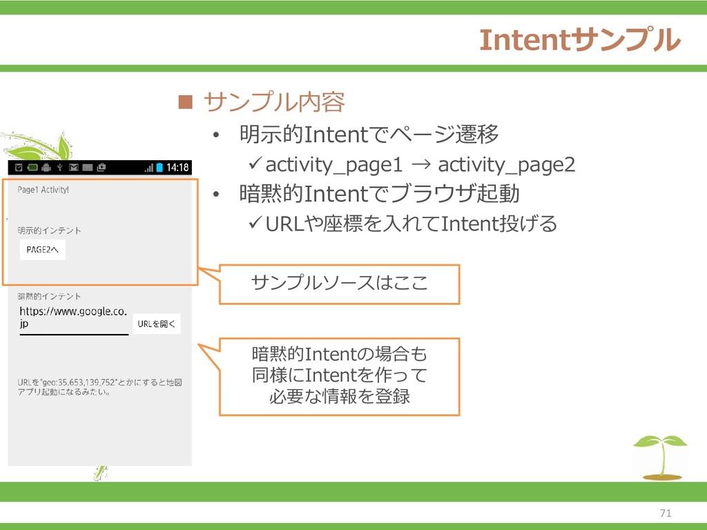 Intentサンプル ◼ サンプル内容 • 明示的Intentでページ遷移 ✓activity...