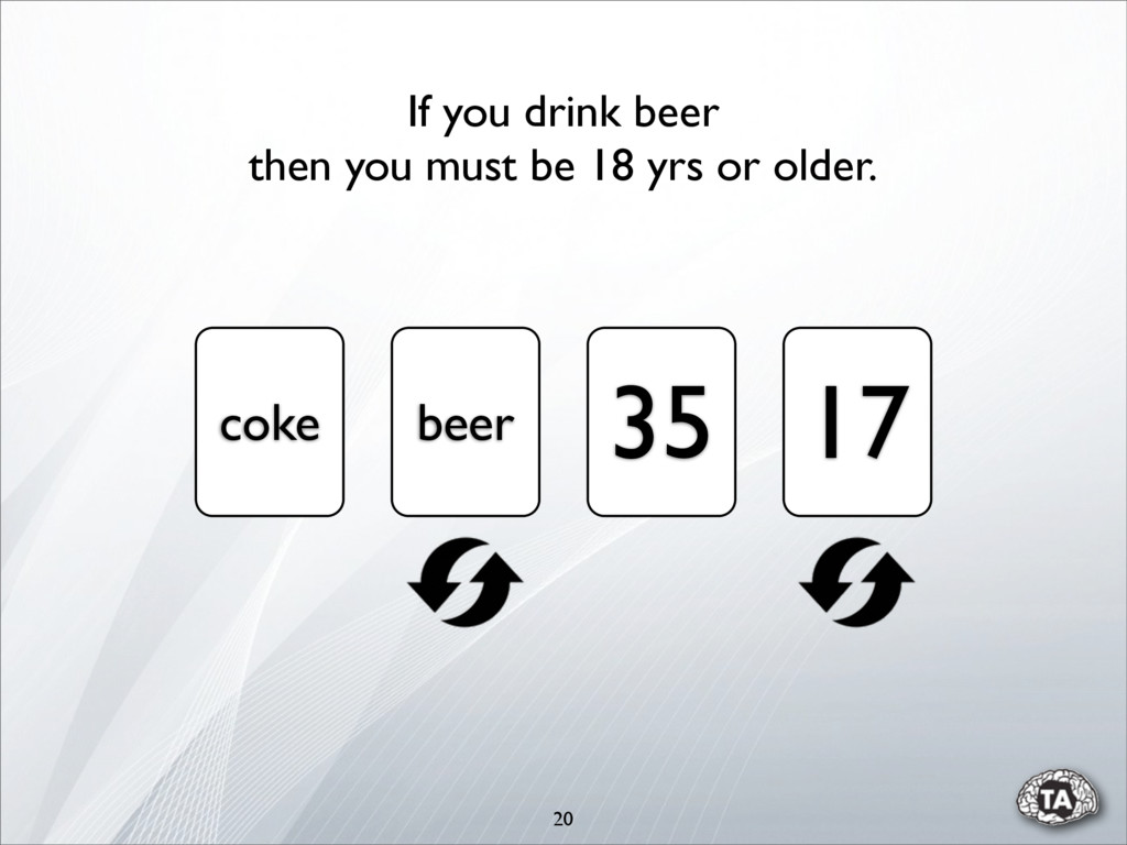 20 coke beer 35 17 If you drink beer then you m...