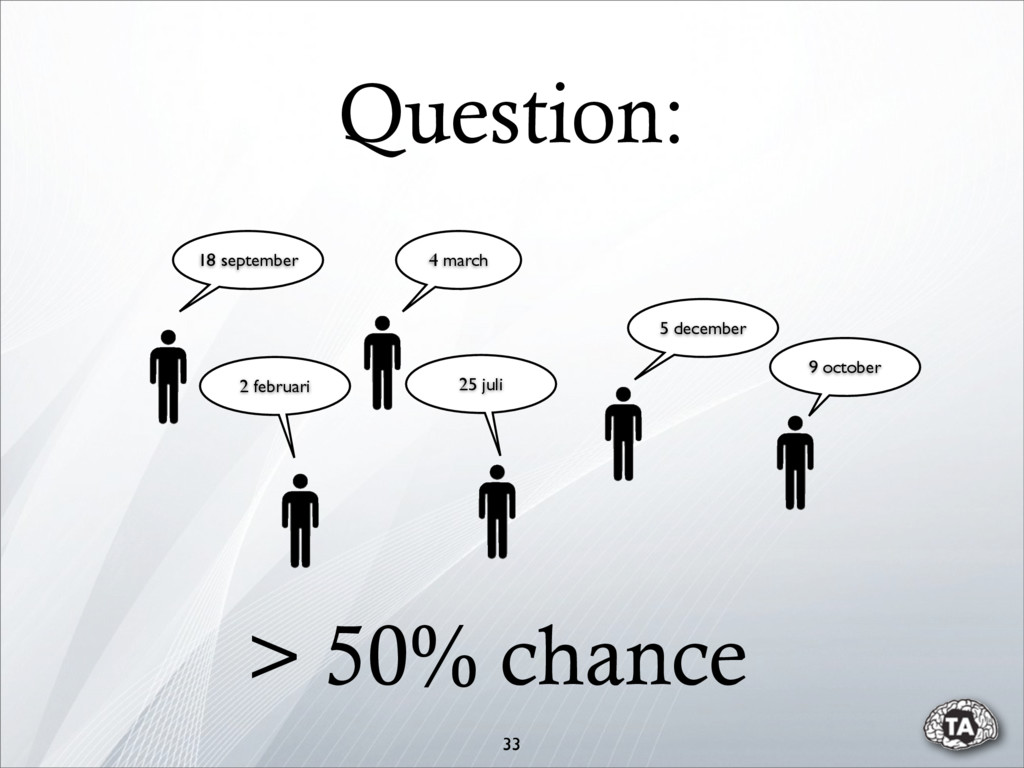 Question: 33 > 50% chance 4 march 18 september ...