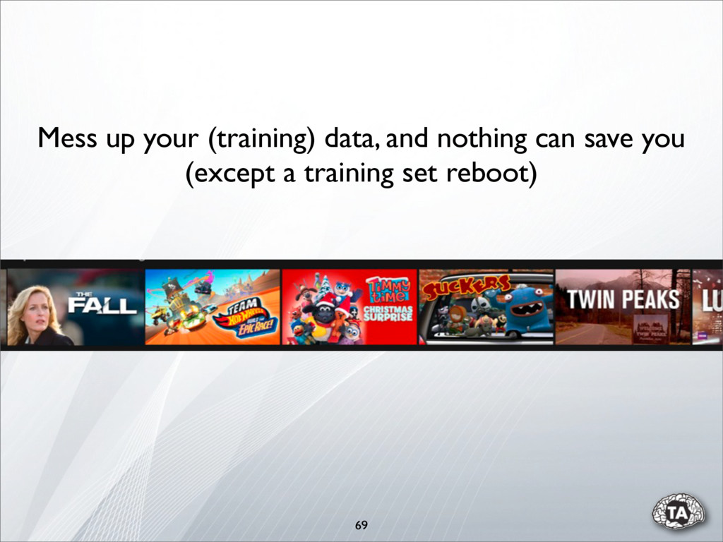69 Mess up your (training) data, and nothing ca...