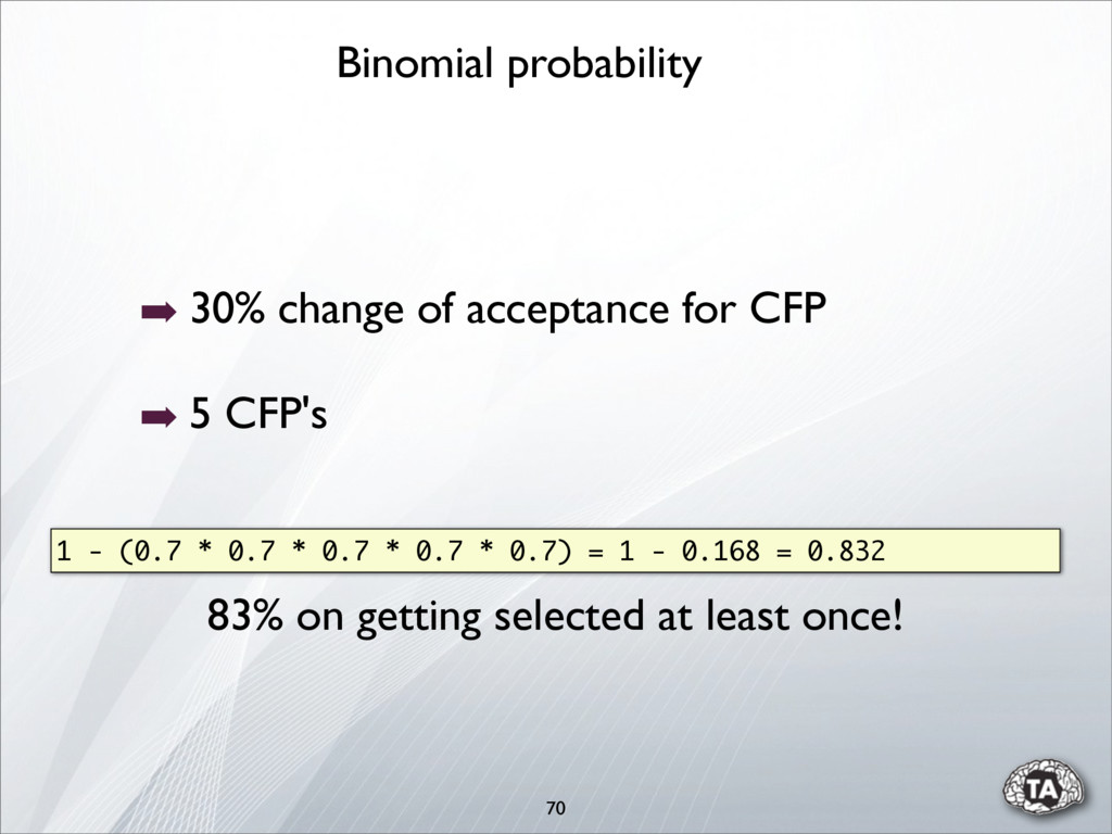 70 ➡ 30% change of acceptance for CFP ➡ 5 CFP's...
