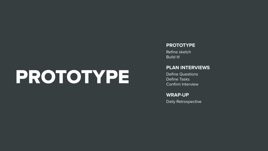 PROTOTYPE PROTOTYPE Refine sketch Build it! PLAN...