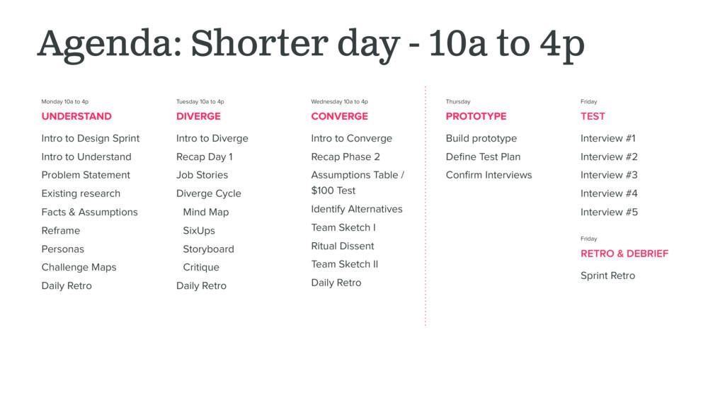 Agenda: Shorter day - 10a to 4p Monday 10a to 4...