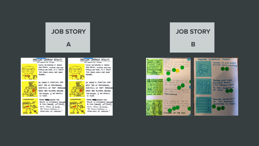 JOB STORY A JOB STORY B
