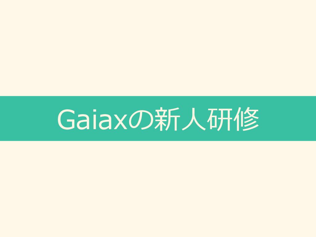 Gaiaxの新⼈研修