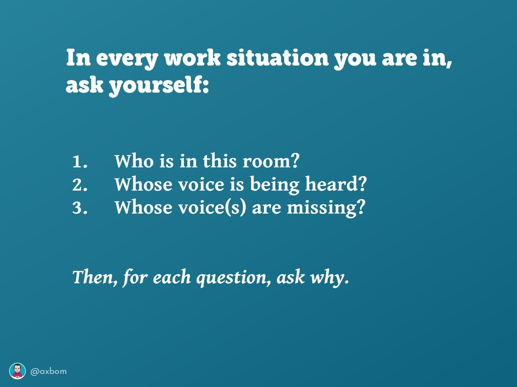 @axbom 1. Who is in this room? 2. Whose voice i...