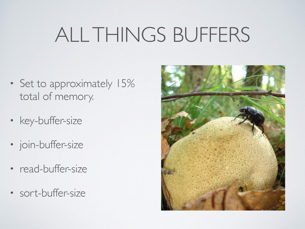 ALL THINGS BUFFERS • Set to approximately 15% t...