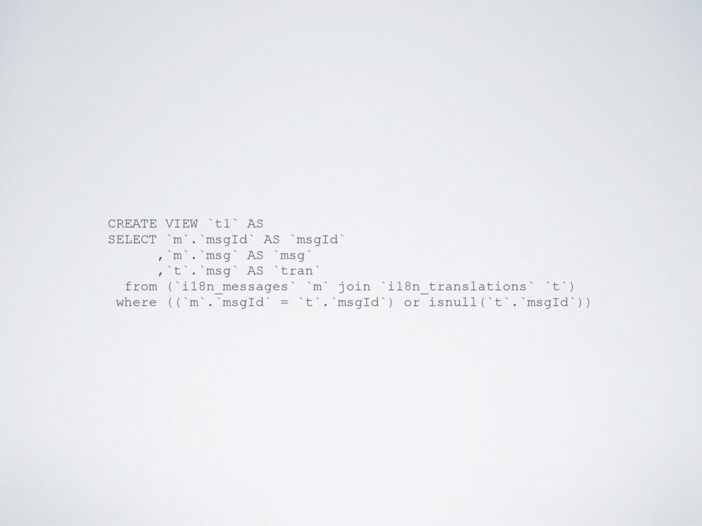 CREATE VIEW `t1` AS SELECT `m`.`msgId` AS `msgI...
