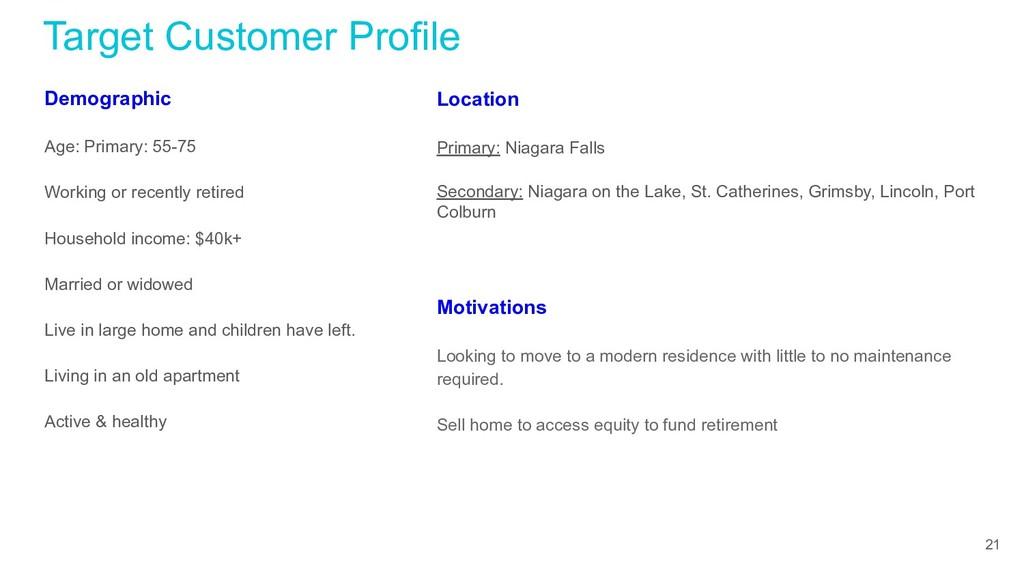 Target Customer Profile Demographic Age: Primar...