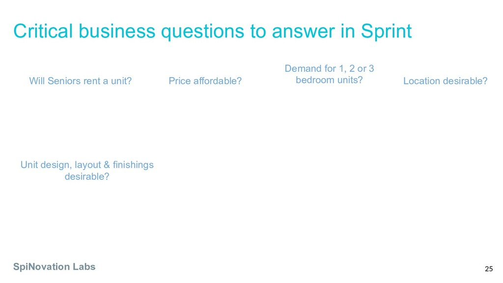 Critical business questions to answer in Sprint...