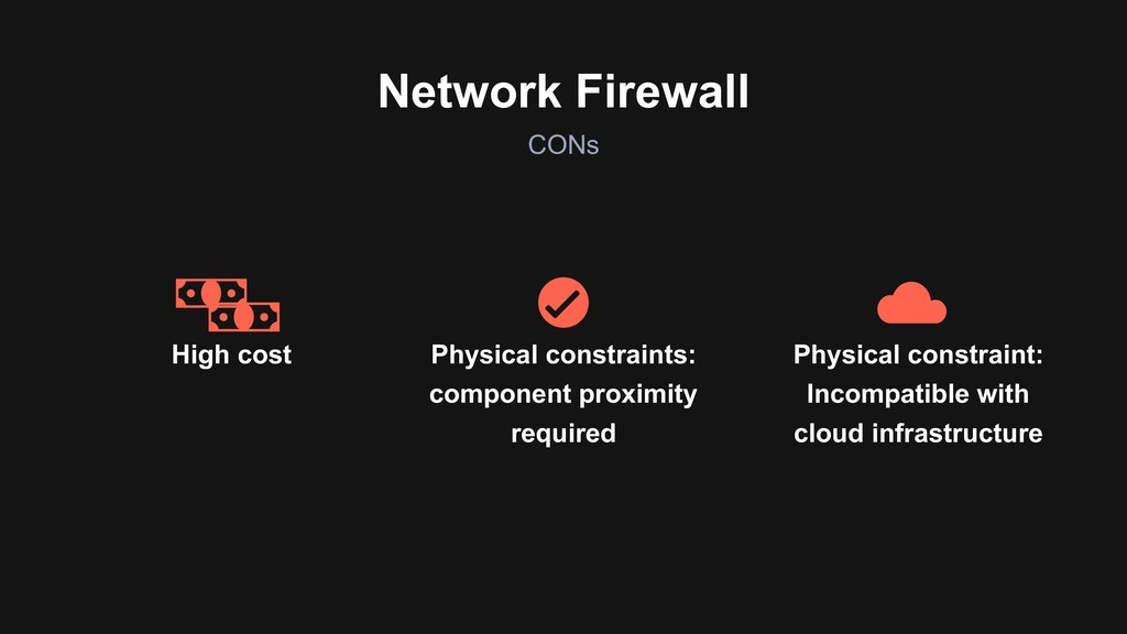 CONs Network Firewall High cost Physical constr...